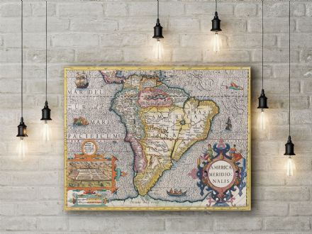 Henricus Hondius: Map of the America. Fine Art Canvas.